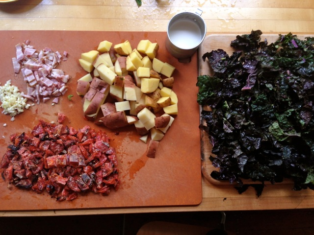 kale potatoes tomatoes bacon prep