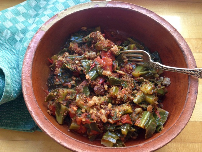 collards tomatoes breadcrumbs