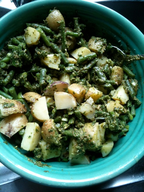 potatoes, green beans, pesto