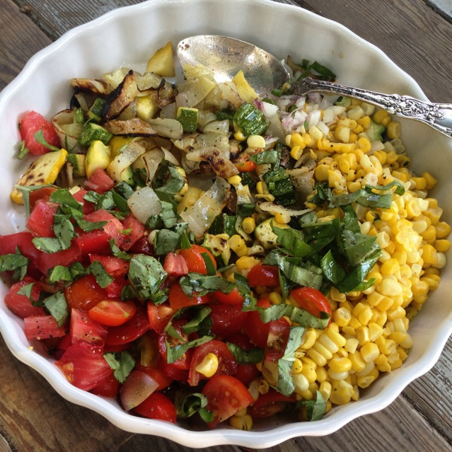 corn roasted onion squash tomato sherry vin salad