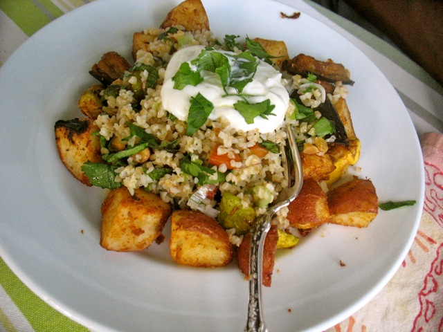 eggplant, summes squash potatoes chermouls with bulgur yogurt