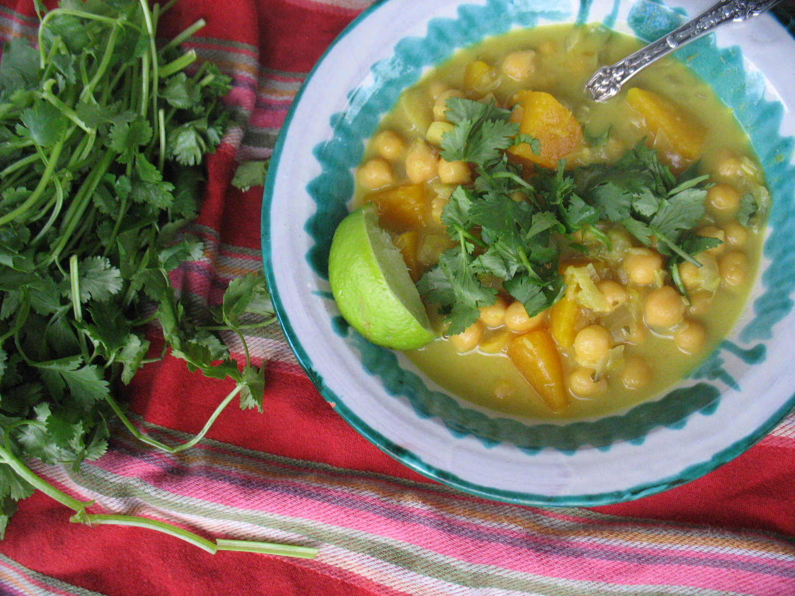 Chickpeas with Pumpkin Coconut milk lemongrass