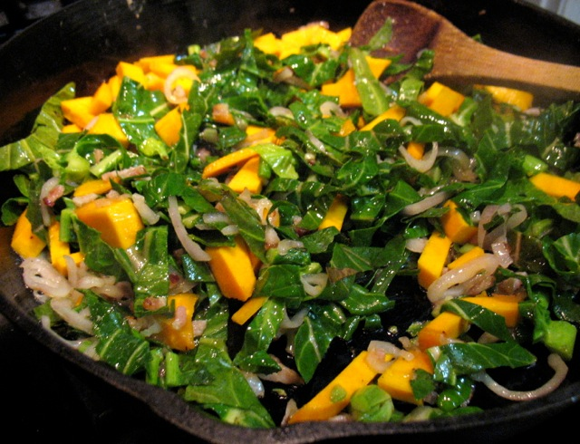 collards, winter squash bacon