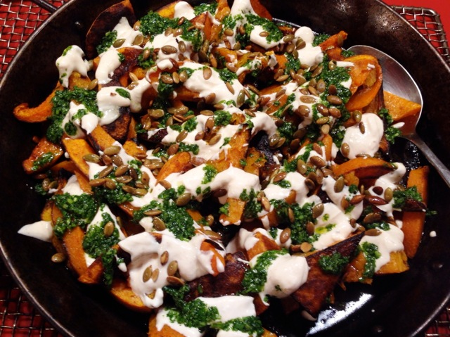 spiced wintersquash w: yogurt and cilantro