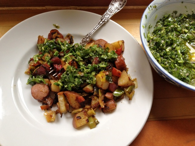 chard stem leek potato hot dog hash w green sauce