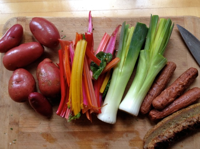 chard stems leeks potatoes hot dogs