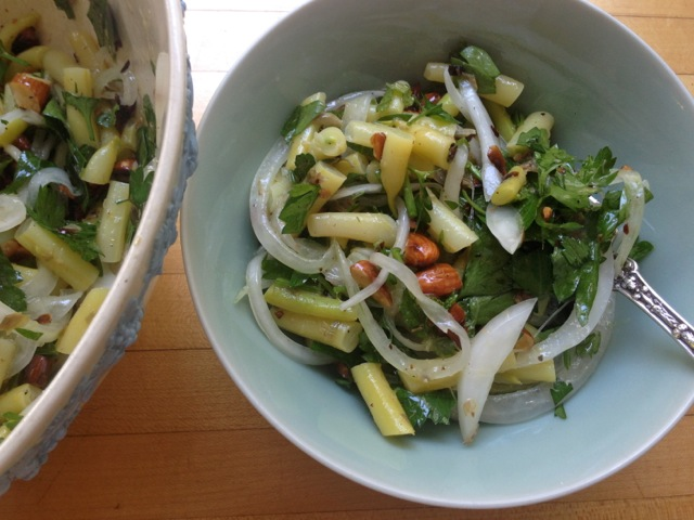 green bean parsley onion almond salad