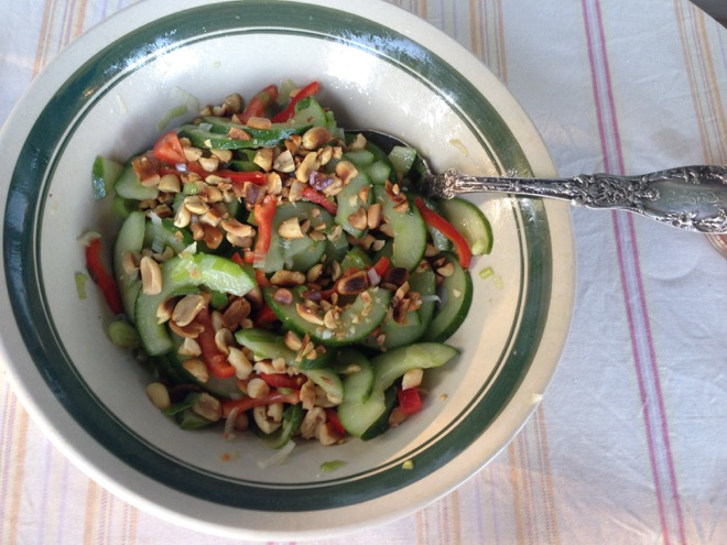 cucumber scallion peanut salad