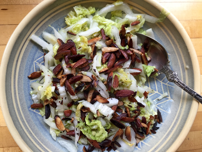 napa cabbage cider vin almonds
