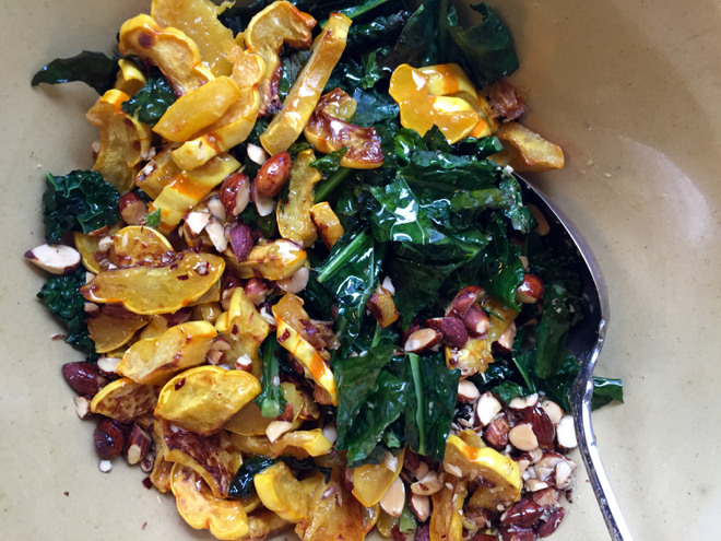 Roasted Delicata Squash and Kale Salad