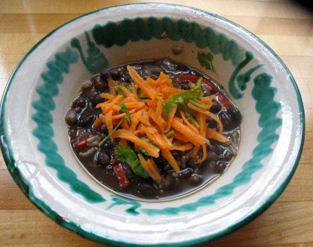 black bean chorizo soup pickled carrots