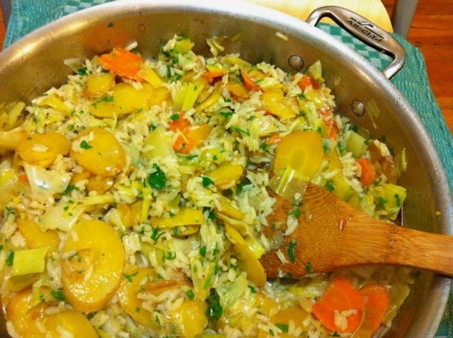 leek carrot rice dish Turkish