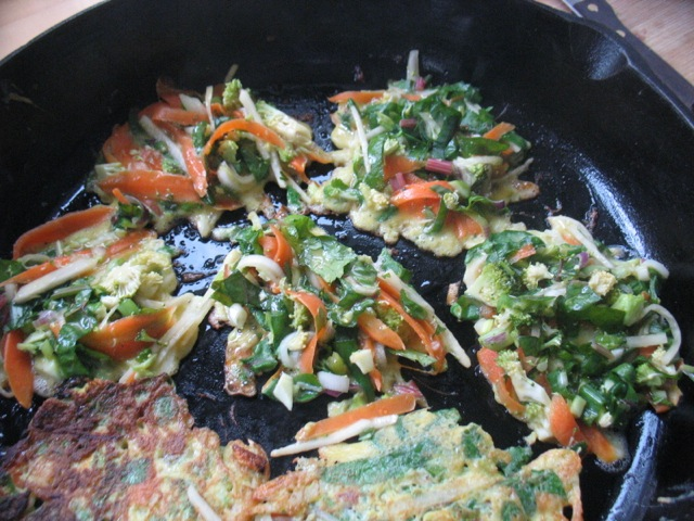 mixed veggie japanese pancakes