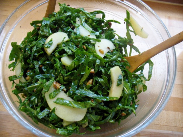 shredded collards, pickled apples, walnuts