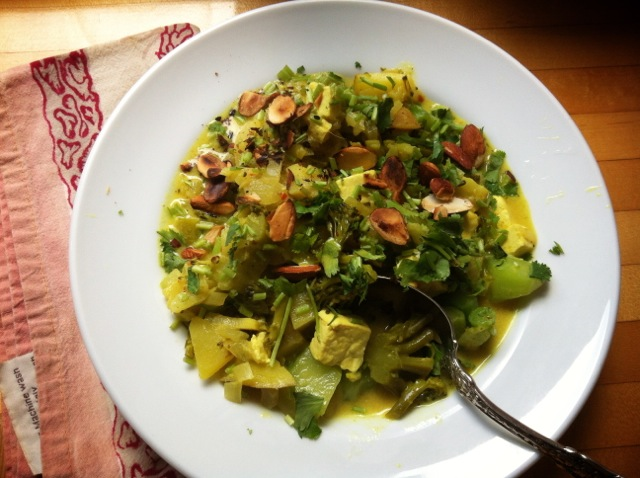 broccoli korma with toasted almonds