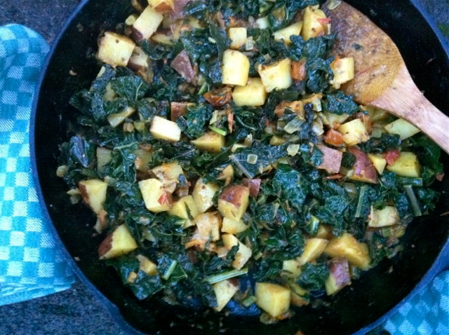 kale, potatoes mustard seed coc milk