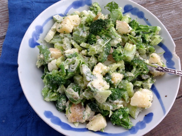 broccoli potato celery aioli salad