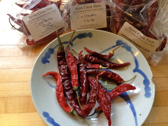 dried red chilies for curry paste