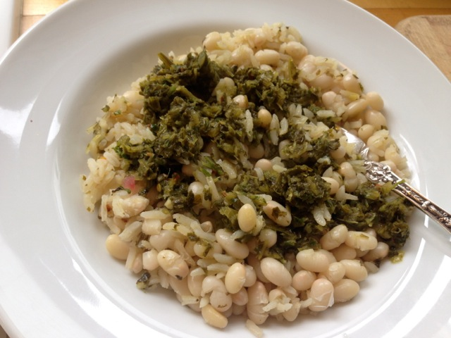 beans rice spicy green sauce