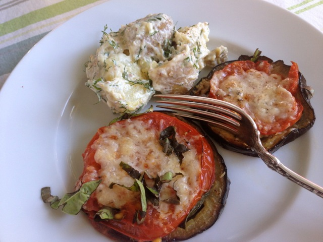 eggplant tomato rounds plated