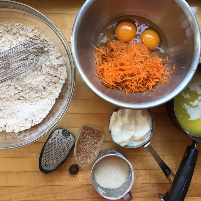 oat carrot nutmeg muffins process