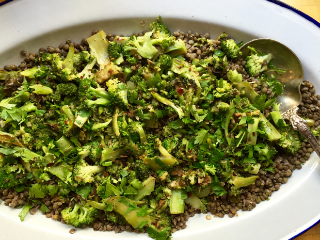 broccoli capers garlic lentils